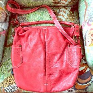 J. Crew slouchy leather red handbag bag purse hobo